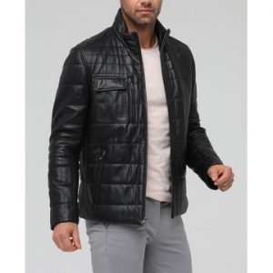 Black Color Men's Leather Jacket