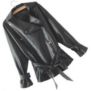 Women's Elegant New Fashion Genuine Sheepskin Black Leather Jacket Coat