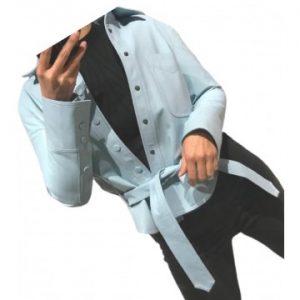 women's marvelous design outwear real lambskin blue leather top